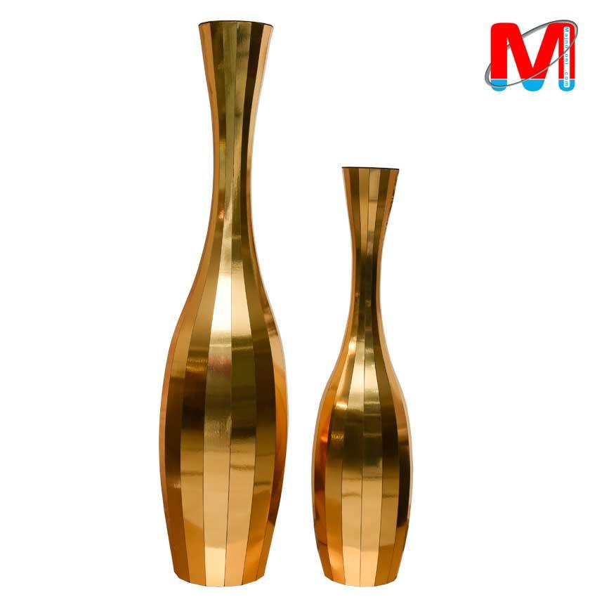 گلدان چوبی جفتی رنگ طلایی