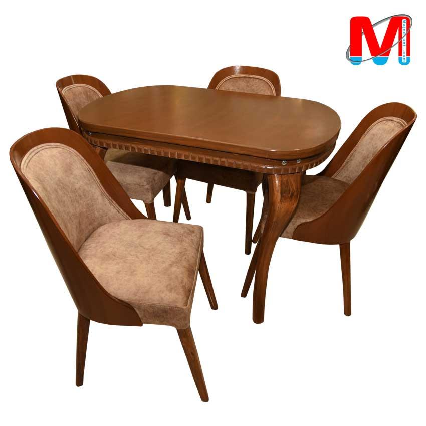 میز نهار خوری چهار نفره مدیا با صندلی نگین چوبی