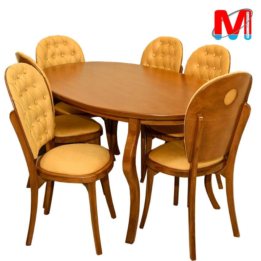 میز نهار خوری شیش نفره چوب راش با میز بیضی