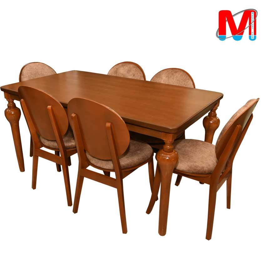 میز نهار خوری شیش نفره با میز پایه شیپوری و صندلی کارن