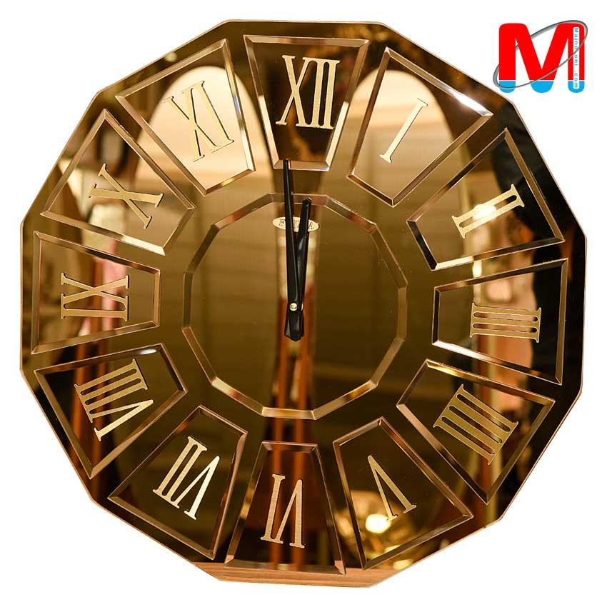 ساعت دیواری آینه ای ابزار خورده طلایی