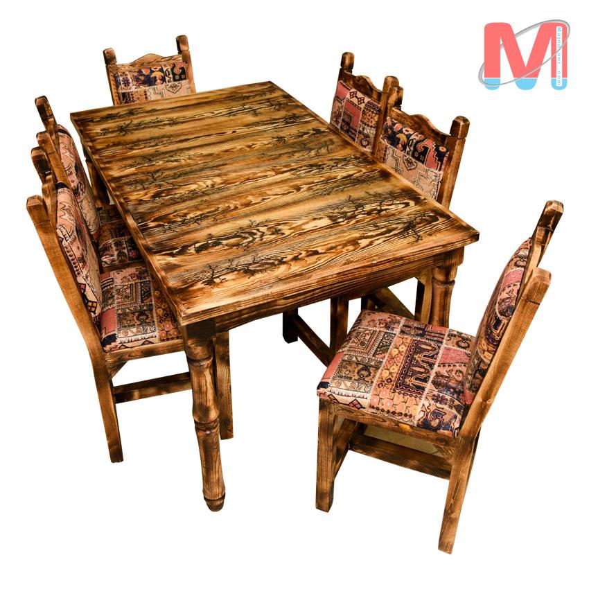 میز ناهار خوری چوبی 6 نفره