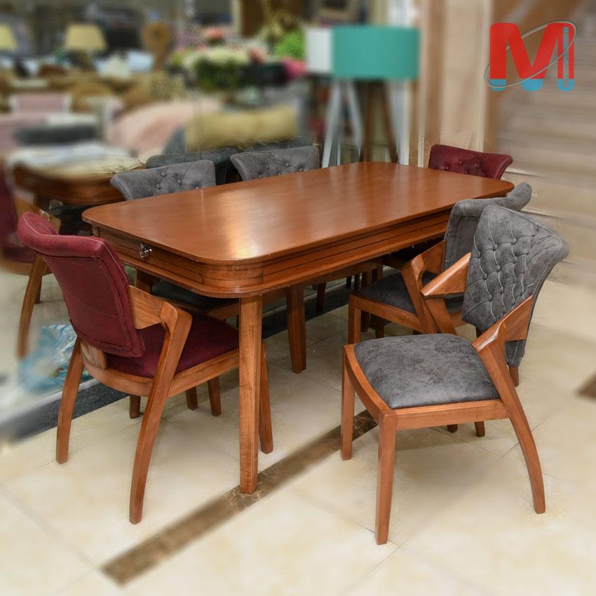 میز ناهار خوری 6 نفره چوب راش با صندلی ماهان و میز کشو دار